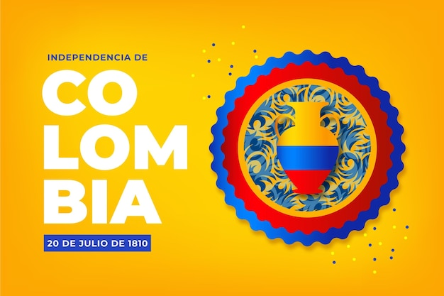 Gradient 20 de julio-independencia decolombiaイラスト
