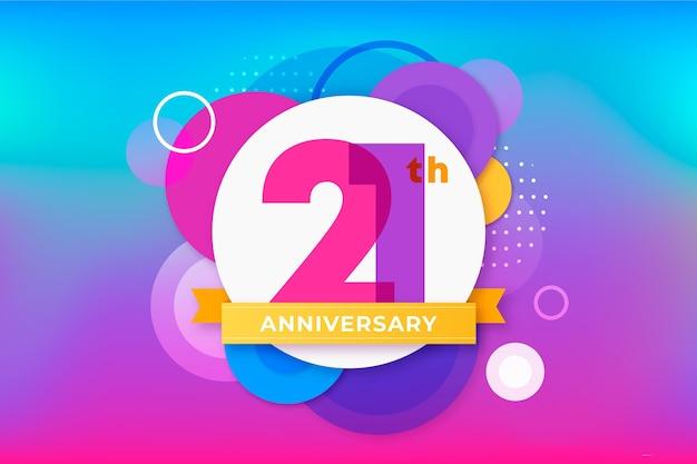 Gradient 21 anniversary background Free Vector