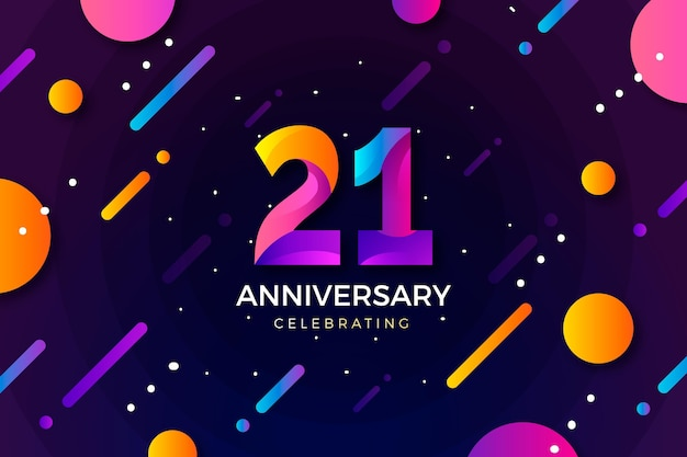 Gradient 21 anniversary background Free Vector