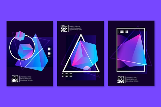 Gradient 3d geometric cubes in dark background