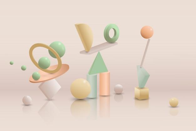 Gradient 3d geometric shapes background