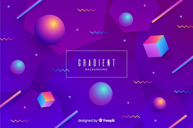Gradient 3d geometric shapes background