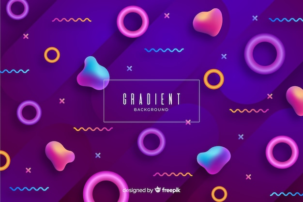 Gradient 3d geometrical shapes background