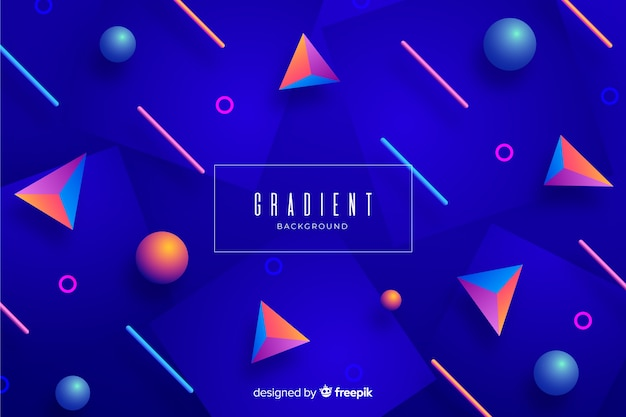 Gradient 3d geometrical shapes wallpaper