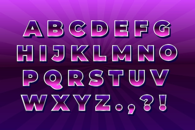 Gradient 3d retro alphabet