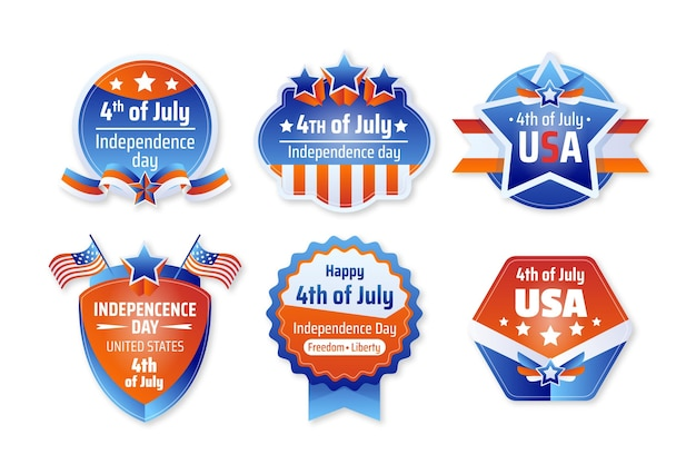 Gradient 4th of july - independence day labels collection