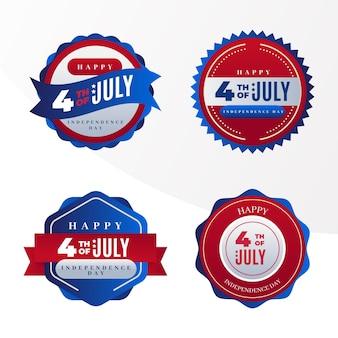 7月4日グラデーション-独立記念日バッジコレクション