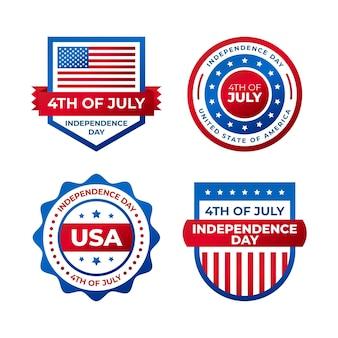 7月4日グラデーション-独立記念日バッジコレクション Premiumベクター