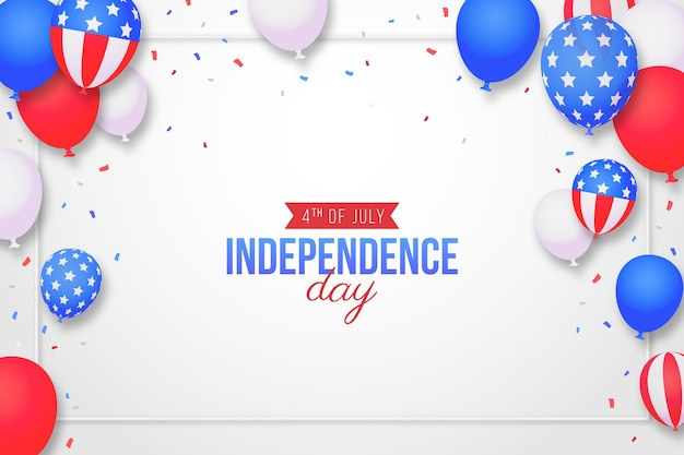 7 월 독립 기념일 풍선 배경의 그라데이션 4