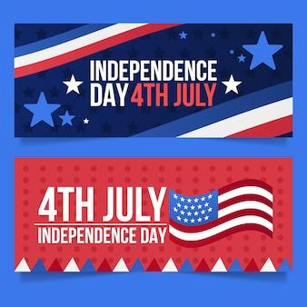 7月独立記念日のバナーセットのグラデーション4日 無料ベクター