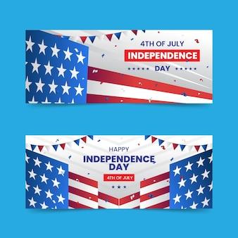 7月のグラデーション4日-独立記念日のバナーが設定されました 無料ベクター