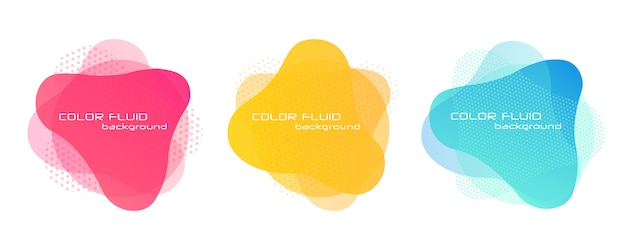 Gradient abstract banners. liquid fluid elements.