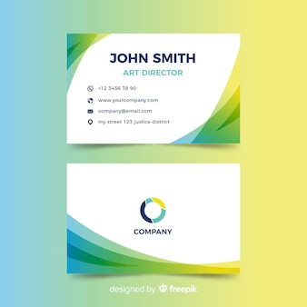 Gradient abstract business card in flat design