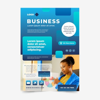 Gradient abstract business flyer template