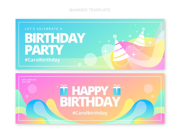 Gradient abstract fluid birthday banners vertical