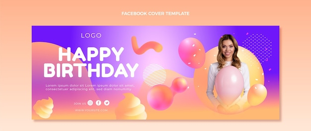 Градиентная абстрактная жидкая обложка для фейсбука на день рождения