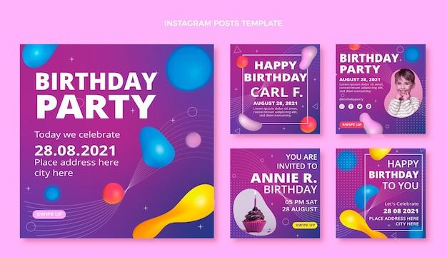 Gradient abstract fluid birthday instagram posts