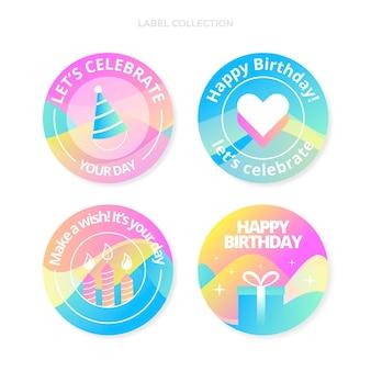 Градиентная абстрактная жидкая этикетка на день рождения и значки
