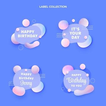 그라데이션 추상 유체 생일 레이블 컬렉션