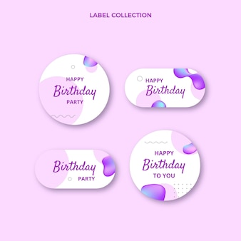 Gradient abstract fluid birthday labels