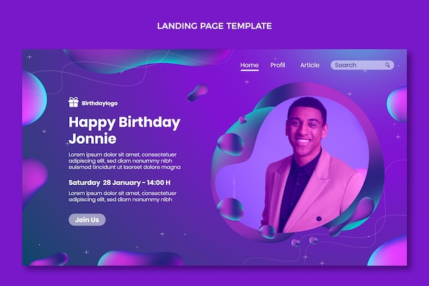 Gradient abstract fluid birthday landing page