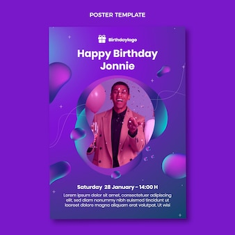 Gradient abstract fluid birthday poster