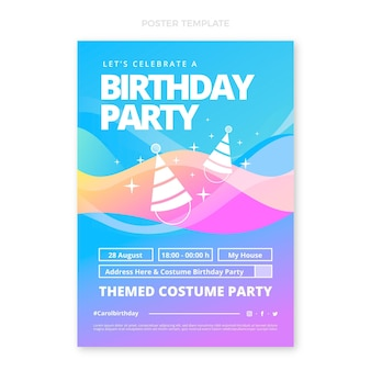 Градиент абстрактный жидкий плакат на день рождения