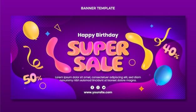 Banner di vendita di compleanno fluido astratto sfumato