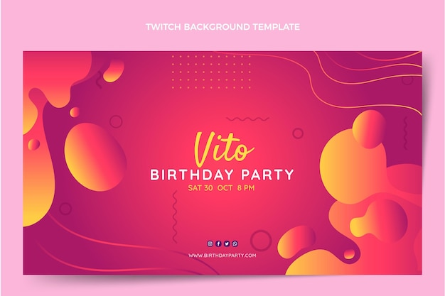 Gradient abstract fluid birthday twitch background
