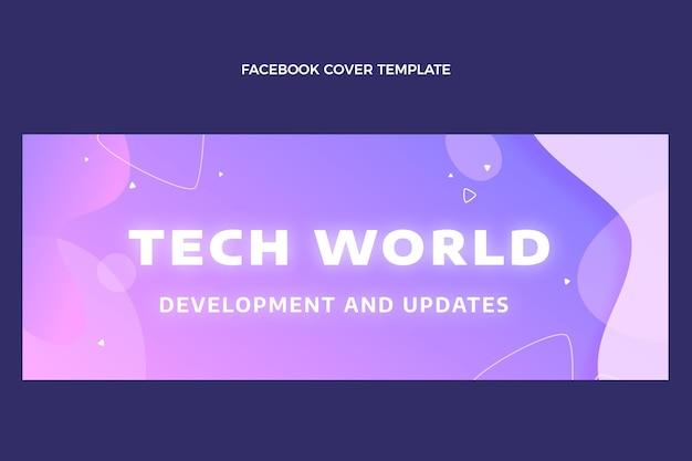 グラデーション抽象流体技術フェイスブックカバー