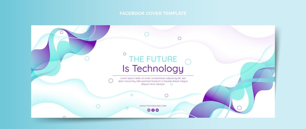 Gradient abstract fluid technology facebook cover