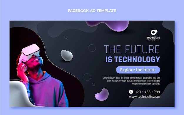 Tecnologia fluida astratta sfumata facebook