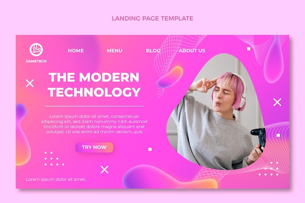 Gradient abstract fluid technology landing page