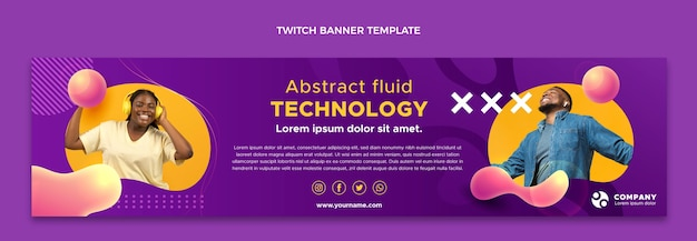 Gradient abstract fluid technology twitch banner template