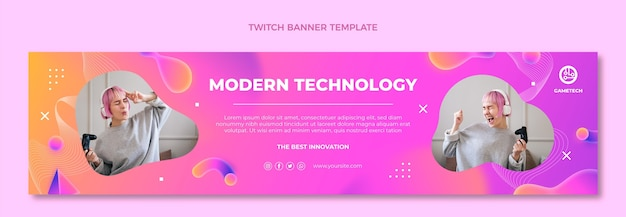 Gradient abstract fluid technology twitch banner