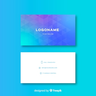 Gradient abstract geometric business card template