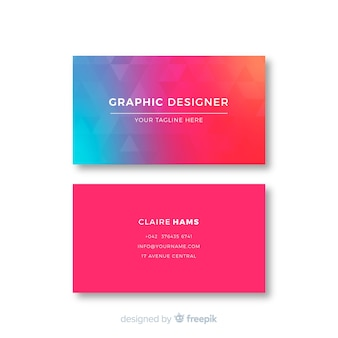 Gradient abstract geometric business card