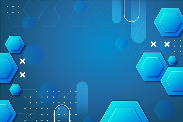 Gradient abstract hexagon shapes background