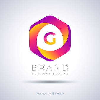 Gradient abstract hexagonal logo template