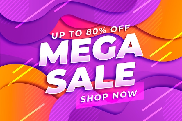 Gradient abstract horizontal sale banner template