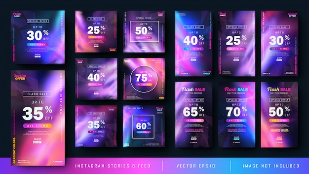Gradient abstract instagram stories and feed post bundle kit