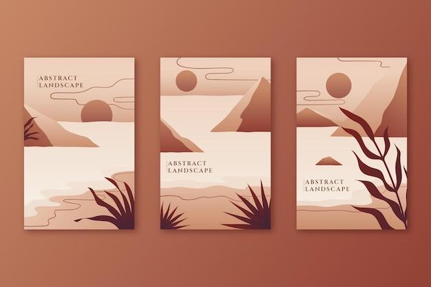 Коллекция градиентных абстрактных пейзажей