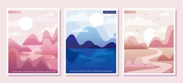 그라데이션 추상 풍경 커버 컬렉션
