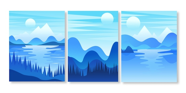 Gradient abstract landscape covers collection