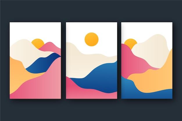 グラデーションの抽象的な風景はコレクションをカバーしています