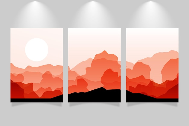 Collezione di copertine di paesaggi astratti sfumati