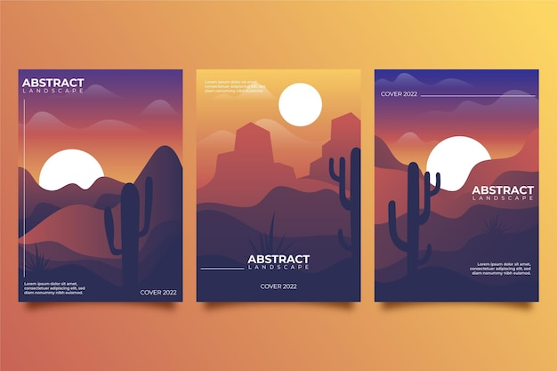 Gradient abstract landscape covers