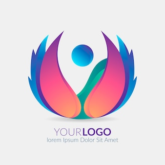 Gradient abstract logo flat design