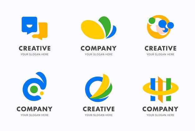 Gradient abstract logo flat icon design template set