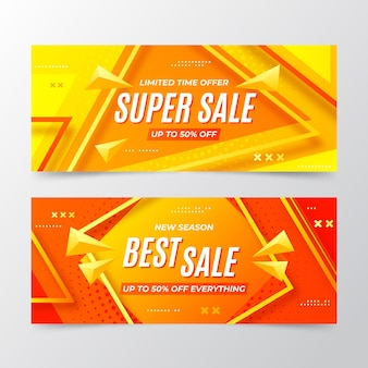 Gradient abstract sale banners set with photo
